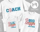 Father and Sons Matching Outfits - Baseball Dad Shirt Big Slugger Shirt & Lil Slugger Bodysuit or Shirt - Father's Day Gift