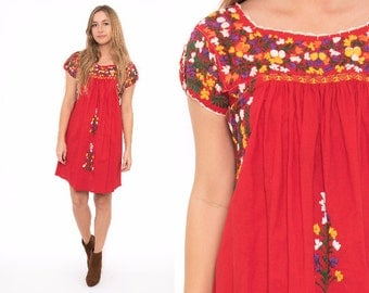 Vintage 70's Red Oaxacan Mexican Embroidered Floral Dress