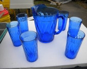 fantastic shape clean large HAZEL ATLAS cobalt DIAMOND optic pitcher and 6 large iced tea water tumblers glasses set