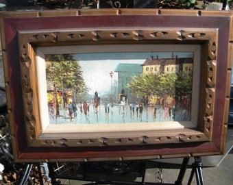 nice shape vintage 1950s mid century listed artist cityscape alfred george MORGAN OIL PAINTING