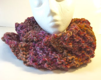 Outlander-style cowl: pink, orange, and purple