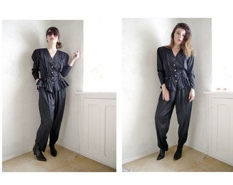 Vintage 80s Glam Suit/ 2 piece black costume High waisted Harem Pants/ Jumpsuit/ 80s 90s power suit/ French/ Size SMALL
