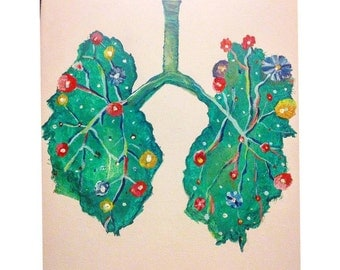 Breathe out / floral lungs / acrylic painting
