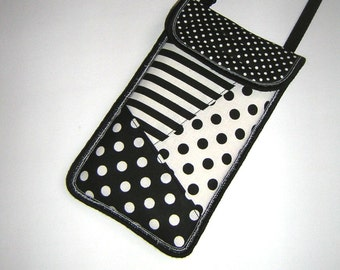 Cellphone Case iPhone 6 purse gadget cover Smartphone Crossbody / Neck Cover Mini Sling Bag mixed fabrics Dots Striped Black & White