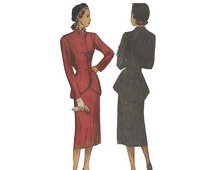SALE 1940s Womens Suit Pattern Bust 36 Simplicity 2182 Princess Seams Peplum High Low Jacket Straight Skirt Uncut Vintage Sewing Pattern