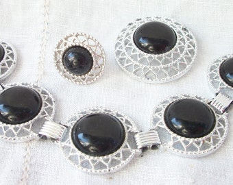 Brooch ~ Bracelet & Adjustable Ring Trio ~ Sarah Coventry ~ Black Cabochon Accents ~ Dazzling Design ~ Silver tone