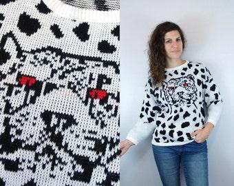 1980s 1990s Vintage Black & White Animal Print Cheetah Leopard Graphic Sweater Jumper / Long Sleeve LS Pullover Knit Sweatshirt / Medium M L