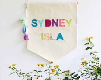 Custom Name Banner - Canvas wall Banner - 19 x 13in