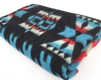 Indian Camp Blanket / Trade Blanket, Black Red Blue Tribal Decor