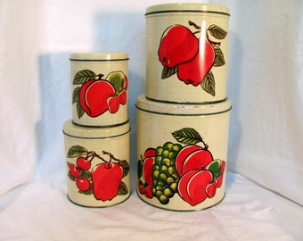 Metal Canister Set With Fruit for Retro Kitchen by Decoware