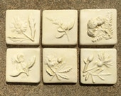 Ceramic Accent Tile -- IN STOCK, 2x2 Hand Made tile, Little Flowers Series Set of 6 in Champagne Glaze