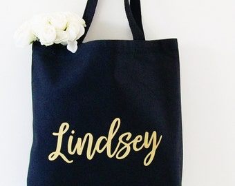 Black Tote Bag, Custom tote bag, Personalized Carry all tote, market bag, Bridesmaid tote, Mother of the Bride, Bachelorette, Birthday