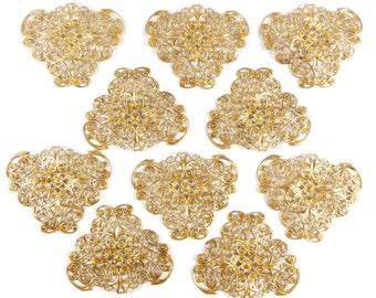 Brass Filigree, Beading Filigrees, Triangular Design, Vintage Jewellery Supplies,Jewelry Making, Raw Brass, 39 x 48mm, B'sue, Item08119