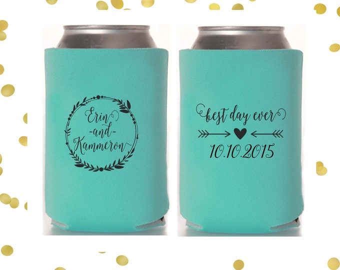 Personalized Wedding Can Cooler | Best Day Ever | Bride and Groom | FREE Standard Shipping