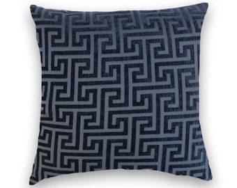 Midnight Blue Velvet Pillow Cover 18x18 or 20x20 or 22x22- Geometric Decorative Throw Pillow NEW!!-- Accent Pillow, Lumbar Pillow Cover.