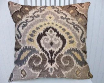 Brown Grey Yellow Ikat Decorative Throw Pillow Cover   18x18 or 20x20 or 22x22- Pillow Cover- Accent Pillow Cover