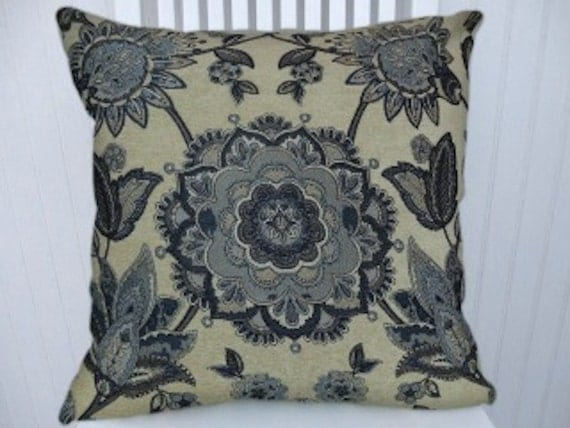 Blue Beige Throw Pillow Cover Suzani By CodyandCooperDesigns