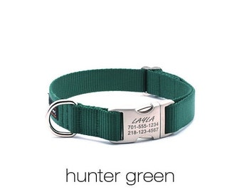 WINTER SALE 15% off Laser Engraved Personalized Buckle Webbing Dog Collar-Hunter Green
