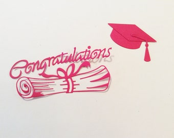 "Handmade, Graduation Cap, Congratulations with Diploma, Red, 4 1/2"" x 1 3/4"", 2 1/4"" x 1 1/4:"