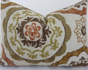 Pillow cover- Suzani Pillow - 12x16 Pillow lumbar- Beige Suzani Pillow