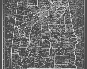 Alabama Map Poster Print  Dark Gray