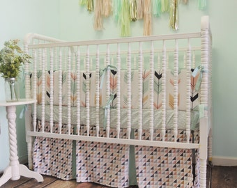 Crib Bedding in Mint,  Coral, Navy Blue, and Gold with Arrows, Triangles, and Aztec Theme, Arrow Baby Bumpers, Triangle Crib Skirt