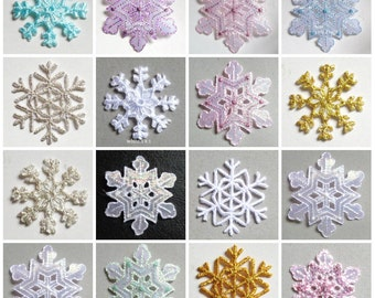 snowflakes iron on applique select color and size