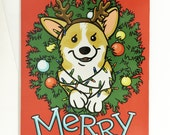 Corgi Butt Christmas Lights Wreath Two-sided Holiday Greeting Card
