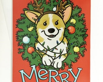 Merry Corgi Butt Christmas Lights Wreath Two-sided Holiday Greeting Card