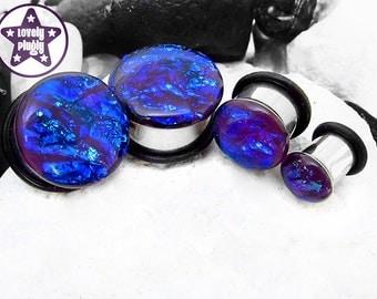 "Ocean of Dragonfly Faux Dichroic Plug / Gauge Purple Blue Teal Faux Dichro 4g, 2g, 0g, 00g, 7/16"" / 5mm, 6mm, 8mm, 10mm, 11mm"