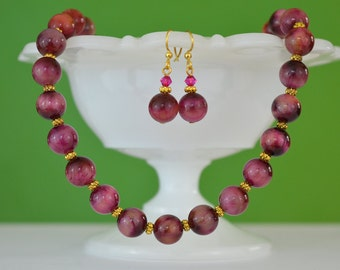 Red Tigers Eye Jewelry Gift Set ~ Mauve and Gold Handmade Beaded Necklace & Romantic Dangle Earrings ~ Semiprecious Natural Gemstone Strand