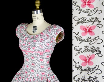 1950s Dress // Butterfly Novelty Print Cotton Full Skirt Dress Le Papillion