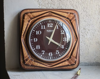 Vintage Wall Clock // 1970 West German Ceramic BLESSING Clock