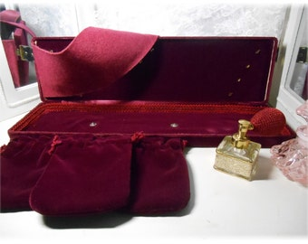 Vintage Burgundy Velvet Jewel Case New Old Stock