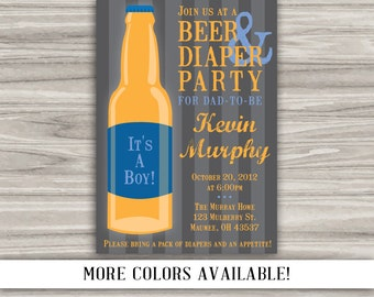 Beer and Diaper Party Invitation for Dad - Print Your Own - Digital File - Color Options