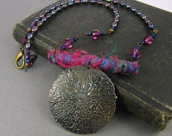 Sari Silk Necklace Medallion Necklace Boho Necklace Hot Pink Blue Purple Pearl Byzantine Gypsy Bead Necklace |NK1-2