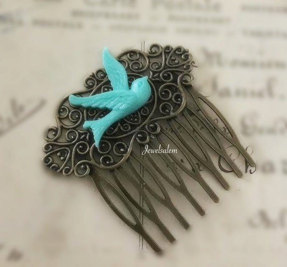 Shabby Chic Hair Comb Blue Bird Hair Comb Turquoise Wedding Hair Slide Bridal Headpiece Aqua Bridesmaid Comb Small Teal Hair Comb