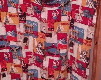 VINTAGE woven barkcloth-like curtains drapes draperies International pair