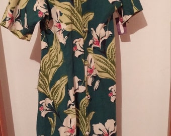 Bark Cloth Handmade Vintage Dress Green Floral