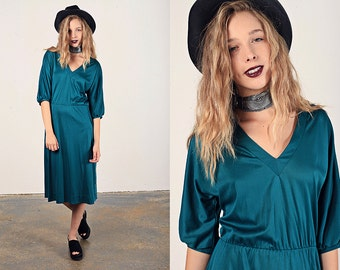 Vintage 70s Green Dress Emerald Teal V Neck Button Day Dress