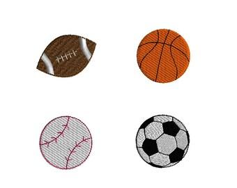 Mini Sports Balls-football, basketball, baseball, soccer ball- Machine Embroidery Design Set-INSTANT DOWNLOAD