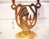 Vintage brass nun candle holder praying crying woman candleholder