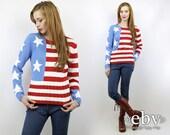 Vintage 90s AMERICAN FLAG Sweater S M American Flag Jumper USA Sweater usa Jumper 90s Sweater 90s Jumper Patriotic Sweater