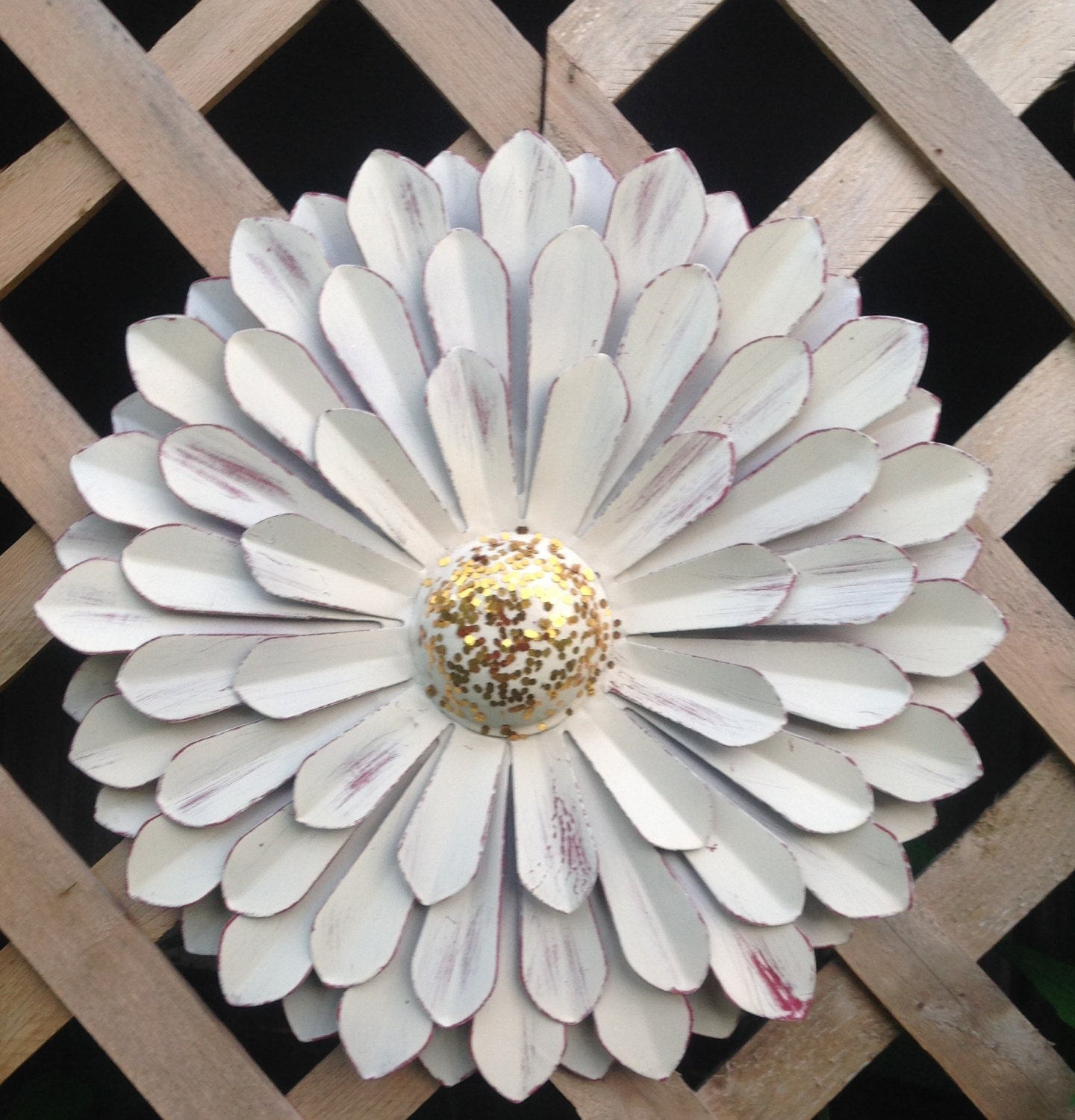 White metal flower wall art metal yard art hanging zinnia for Metal flower wall art