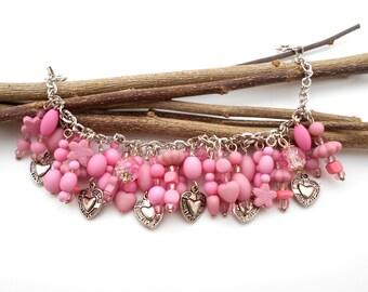 Beaded Charm bracelet Pink Heart love Sweetheart Handmade