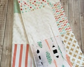 Personalized Baby Blanket, Girls Coral and Aqua Patchwork Baby Blanket, Arrows and Feathers Blanket