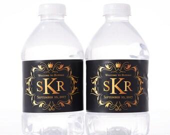 Wedding Monogram - 100 Wedding Water Bottle Labels - Wedding Water Labels - Custom Water Bottle Labels - Waterproof Water Bottle Labels