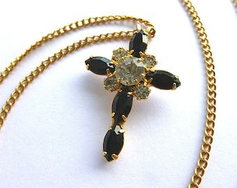 ELEGANT Black & Clear Diamond Cross, Goldtone Cross with Black and Clear Faux Gemstones, Vintage NOS (New Old Stock) Cross Necklace