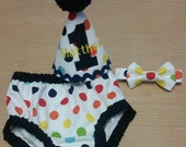 colorful dots boy cake smash outfit, rainbow dots birthday outfit for boys