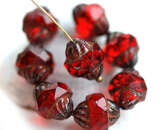 8pc Red Turbine beads, Picasso Czech glass beads, fire polished, bicone, faceted - 11x10mm - 2667